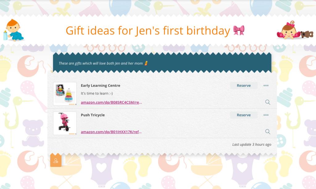 baby wishlist gift reservation app