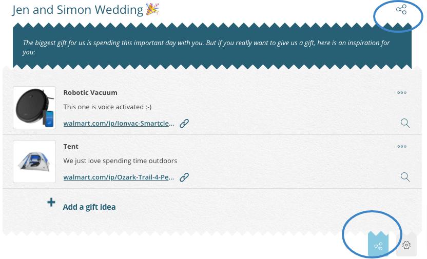 Wedding gift reservation app